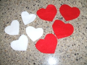 Red and white felt hearts.