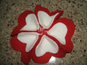 Completed petals glued to circle.