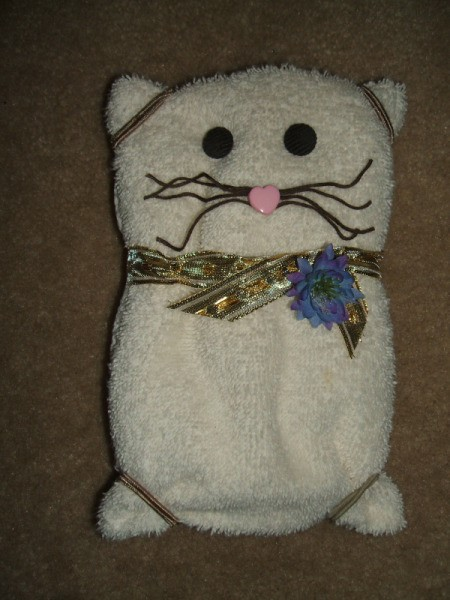 Finished cat towel.