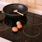 Black smooth top cooking range.
