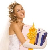 A bride with gifts.