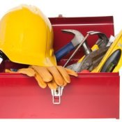 Renovating Your Kitchen on Budget, Red tool box full of tools.