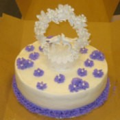 A simple homemade wedding cake.