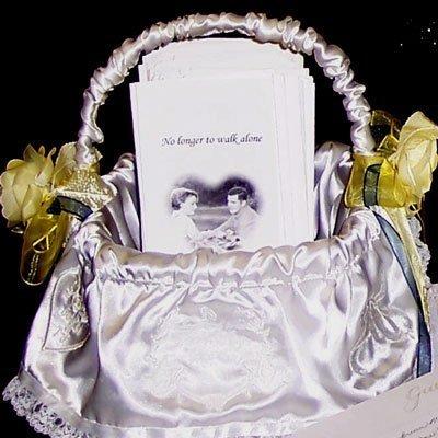 Wedding programs in a basket.
