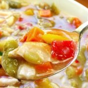 Chicken soup with lots of vegetables and wild rice.
