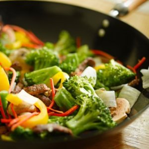 Vegetables Stir Fry in a Wok