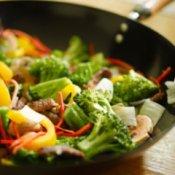 Vegetables Stir Fry in a Wok