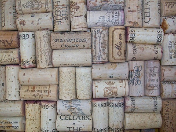 Closeup of Corks in a corkboard