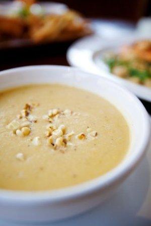 A bowl of corn chowder.