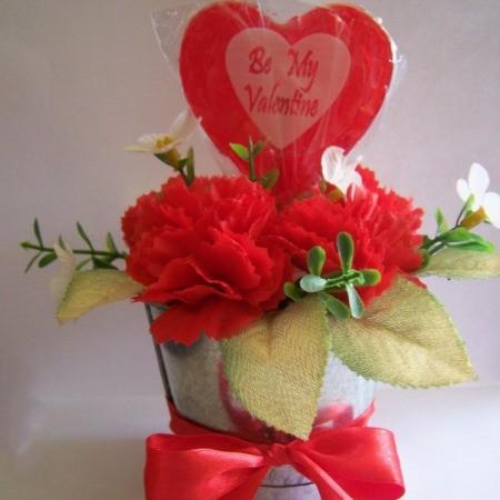 Closeup of lollipop Valentine's gift.