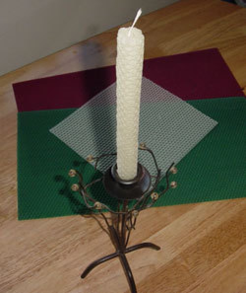 Candles made from rolled up beeswax sheets.