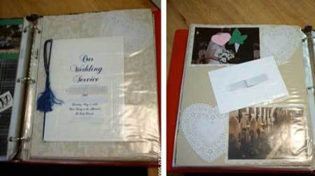 A wedding scrapbook with the wedding program and some photos.