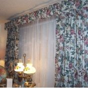 New drapes from flowered sheets.