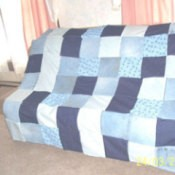 A quilt made from recycled jeans.