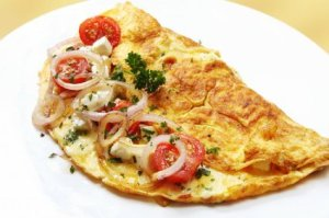 Photo of a egg and cheese omelette.