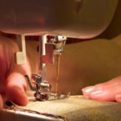 Sewing with a sewing machine.