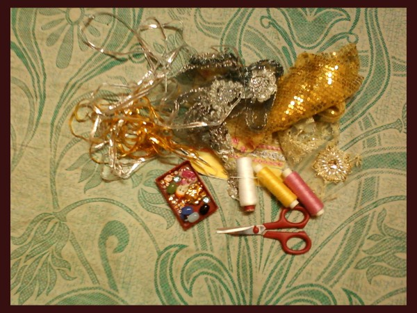 Materials for gift pouch.