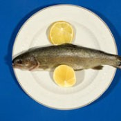 A fish on a plate with lemon.