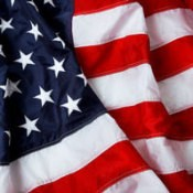 An American flag showing the stars and stripes.