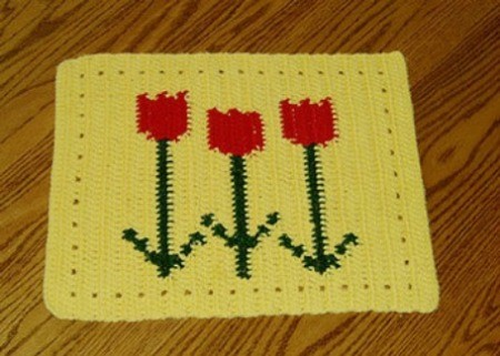 Red tulip pattern placemats.