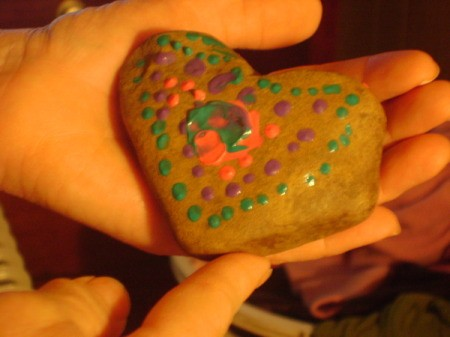 Painted Rocks - the heart shaped front of the rock, painted with puffy paints.