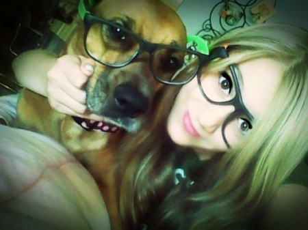 Sierra (Dog) And Katelyn both wearing rimmed glasses.