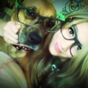 Sierra (Dog) And Katelyn both wearing rimmed glasses.