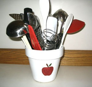 Apple Kitchen Utensil Holder - white painted flowerpot with red apple design