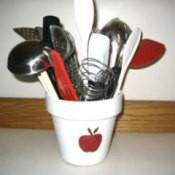 Apple Kitchen Utensil Holder - white painted flowerpot with red apple design