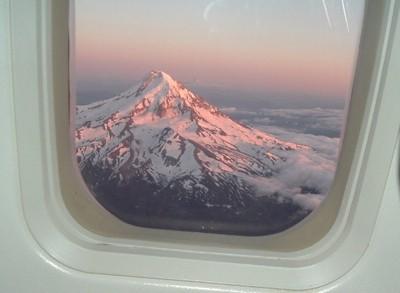 Mt hood From airplane Window