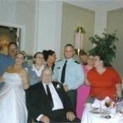 A casual wedding photo.