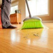 sweeping a floor
