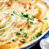 Scalloped potatoes in an old blue enamel bowl, on rustic white table.