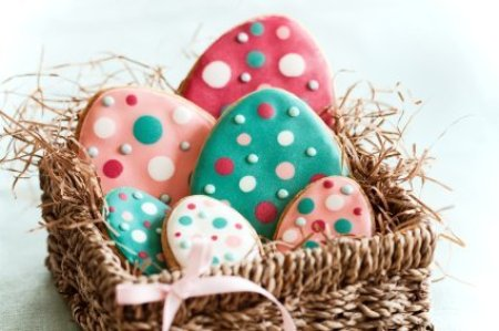 Colorful Easter egg cookies.