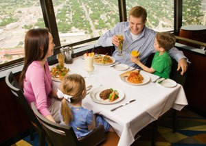 A family eating out.