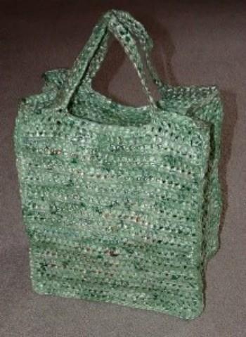 Crocheted Green Plarn Bag