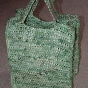 Crocheted Green Plarn Bag