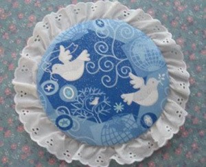 Fabric Can Lid Ornaments Finished