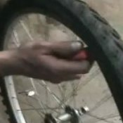 fixing a bike flat