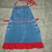 Jean Apron with red trim
