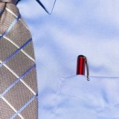 starched blue dress shirt
