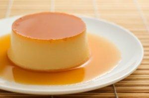 Flan dessert on a plate.