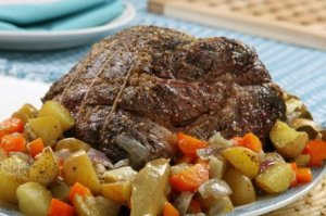 Pot roast with potatoes and carrots.