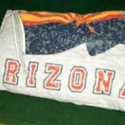 Pillow made from an old t-shirt.