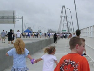 Runners on the New Ravenel Bridge (Charlston, SC)