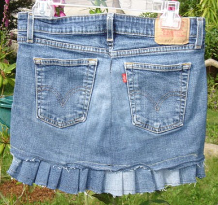 Handmade distressed jean skirt with ruffle