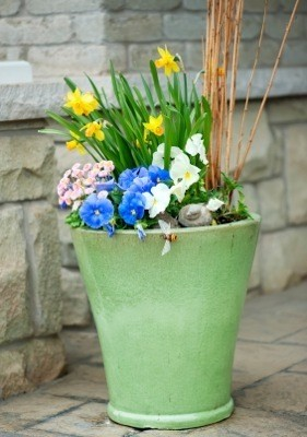 Planter with flowers.