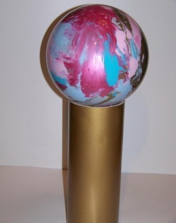 Reflector bowling ball.