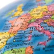 Europe on a globe.