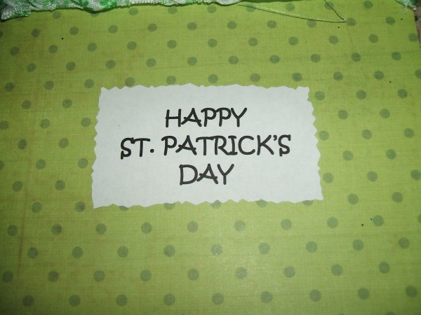 Happy St. Patrick's Day message on front of card.